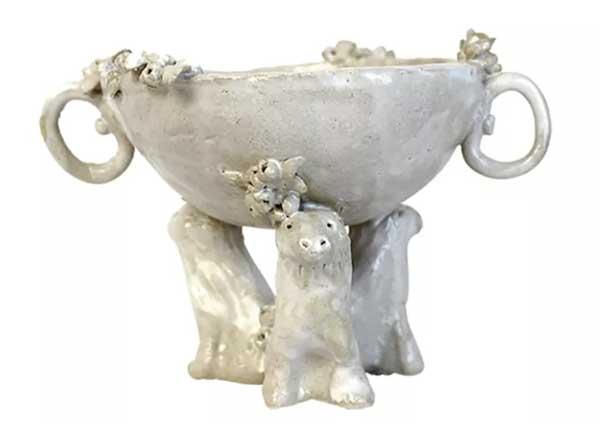 8. Lion Handmade Ceramic Serving Bowl